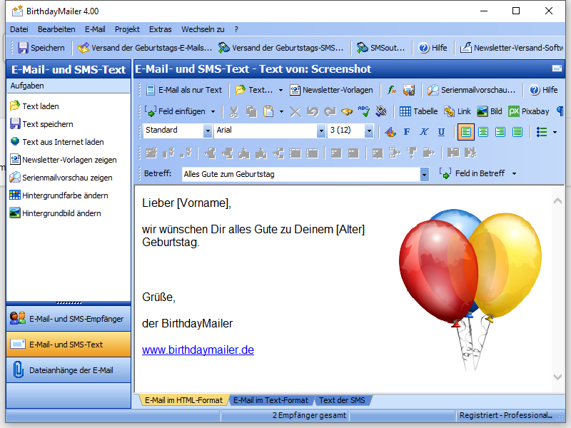 Screenshot vom Programm: BirthdayMailer Standard