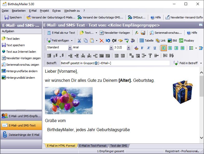 Geburtstag Email