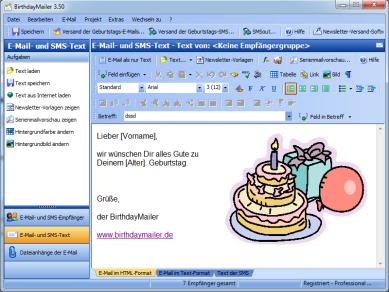 BirthdayMailer HTML Geburtstags E-Mails und Text SMS zum Geburtstag versenden